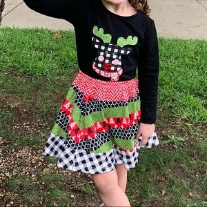 Rudolf applique top and multi printed skirt outfit